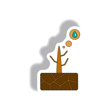 Vector illustration of drought and dead tree Illustration