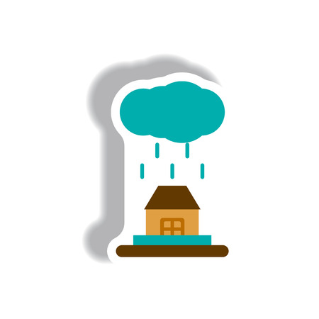 cloudburst: Rain cloud on house,cloudburst, downpour rain