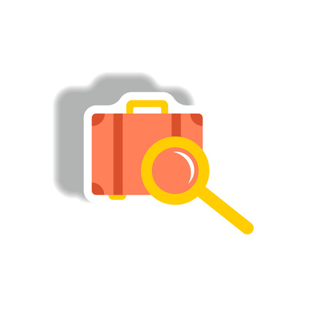 stylish icon in paper sticker style baggage Scanner