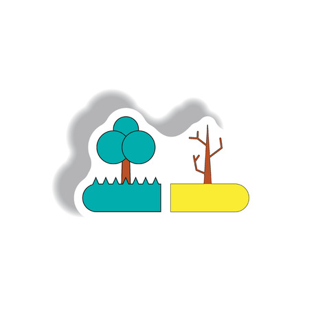 drought and trees, drought effects on plants, flowering tree and dry tree Illustration