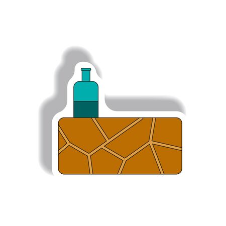 cracked earth and bottle of water, drought Illustration