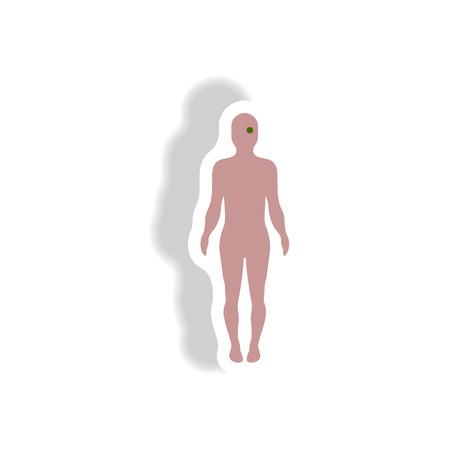 optic nerve: stylish icon in paper sticker style body eye