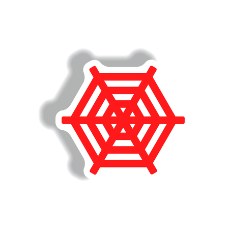 of helloween: stylish icon in paper sticker style spider web Illustration
