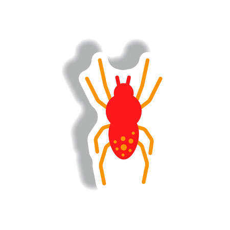 stylish icon in paper sticker style spider insect Illustration