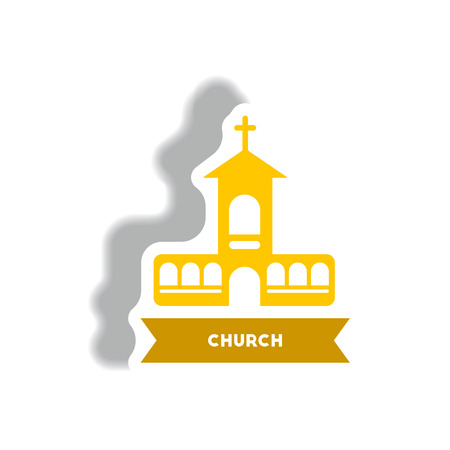 stylish icon in paper sticker style building church