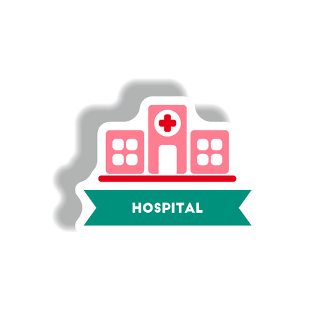 hospitalization: stylish icon in paper sticker style building hospital