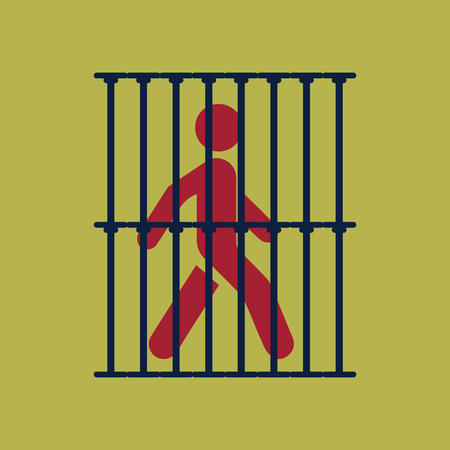 Silhouette illustration of a man in jail sign