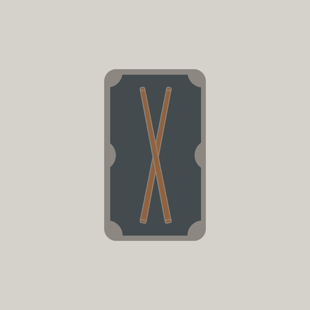 pool cues: Vector illustration in flat style billiard pool table and cues