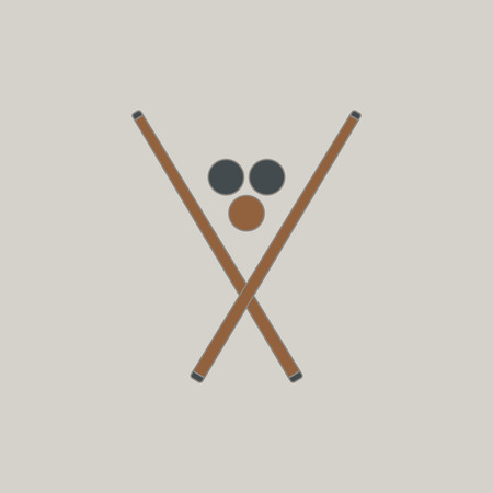 cue ball: Vector illustration in flat style billiard balls and cues Illustration