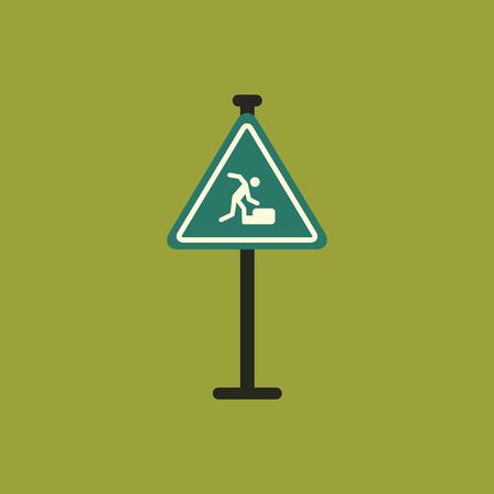 slip homme: Avertissement tombant sur le panneau routier escaliers