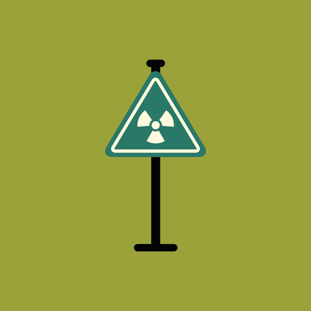 Road sign with an radioactive symbol