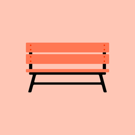 comfortable: Wooden bench isolated on white background. Park brown vector bench in flat style Illustration