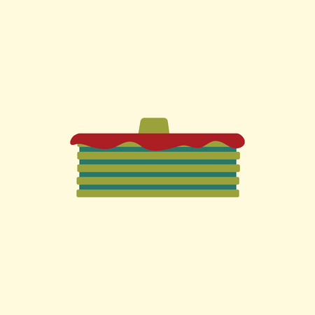 served: Breakfast food menu item tasty fluffy homestyle pancakes with butter vector illustration