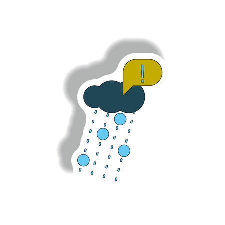 Vector illustration in sticker design of rain with volcanic elements and exclamation mark Illustration