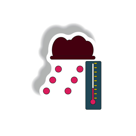 hail: hail and thermometer, weather sticker Illustration