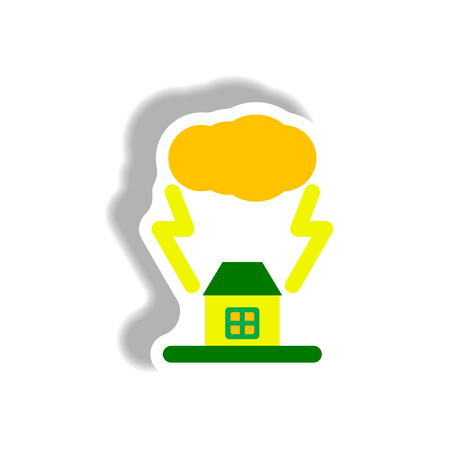 storm cloud: lightning cloud and house, storm Illustration