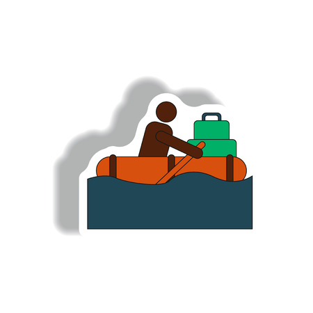 Vector illustration in sticker design of man on raft in flood