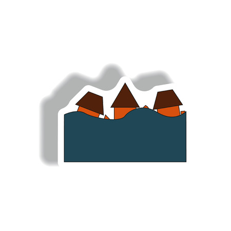 cheeky: Vector illustration in sticker design of a buildings that has been flooded Illustration