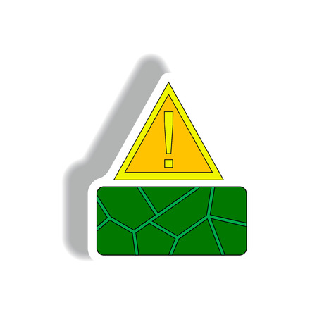 Vector illustration of cracked earth exclamation sign