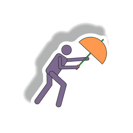 Umbrella in storm, hurracian disaster