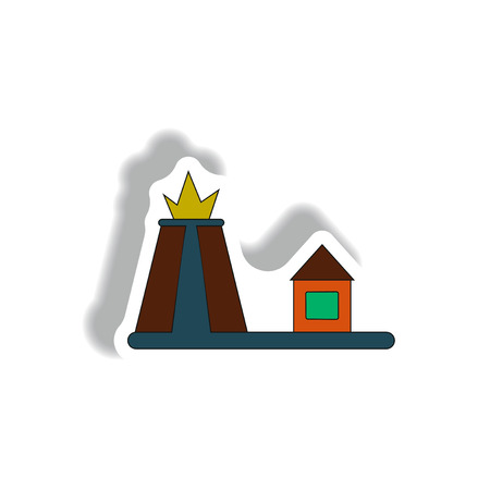 volcano mountain top exploding: Vector illustration in paper sticker style volcano explosion and house Stock Photo