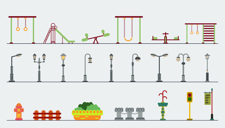 ladder  fence: Kids playground.Kindergarten playground with swings, slide, park equipment, street lamp posts, vector