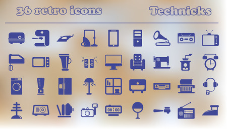 Furniture icons, home retro appliances set. house technics Vector illustration collection.