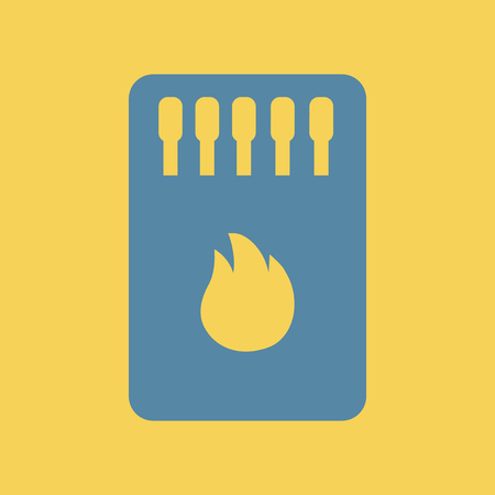 matchbox: Simple illustration of a flat icon of a Matchbox and matches. Illustration
