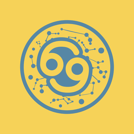 Simple illustration of a flat icon of a zodiac sign cancer.