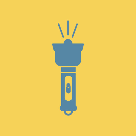Simple illustration of a flat icon of a electric flashlight. Illustration
