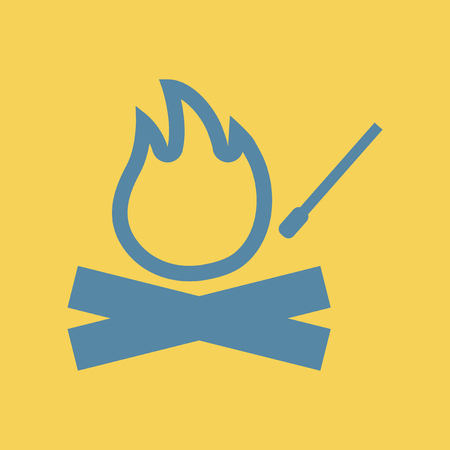 Simple illustration of a flat icon of a fire and match, bonfire.