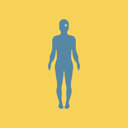 human eye: Flat illustration of an eye point on human body. Illustration