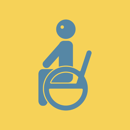Flat illustration of a disabled sitting on wheelchair concept.