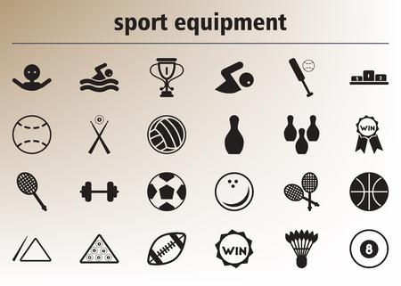 baseball stuff: Collection of stylish vector icons Sport equipment