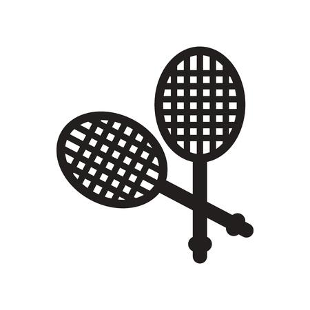 racquetball: icono plano en cohete de tenis de estilo blanco y negro