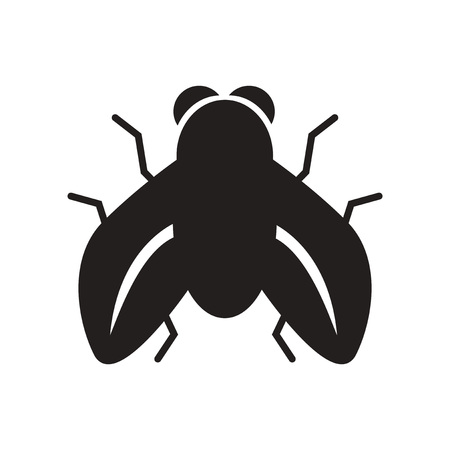 flat icon in black and white  style fly insect