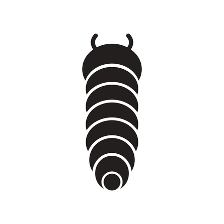 Flat icon in black and white  style insect caterpillar