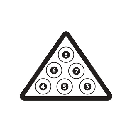 icône plate dans le style noir et blanc boules de billard triangle