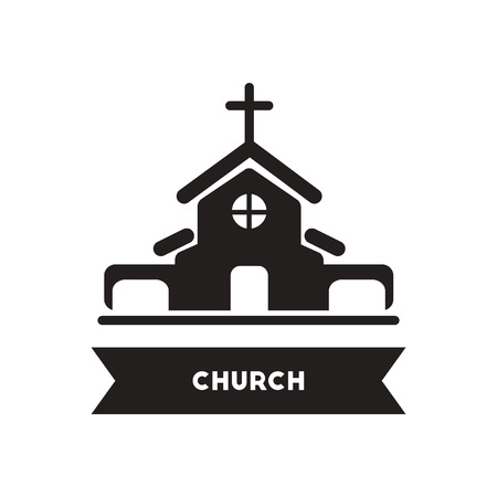 Flat icon in black and white  style building church