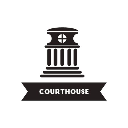 Flat icon in black and white  style building courthouse Illustration