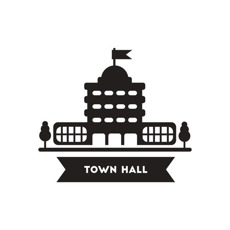 Flat icon in black and white  style building town hall Illustration