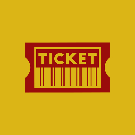 admittance: Movie ticket Vector illustration in flat style cinema ticket with barcode