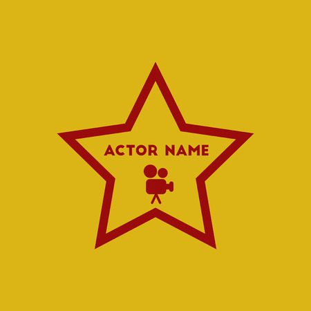 Vector illustration in flat style star with actor name