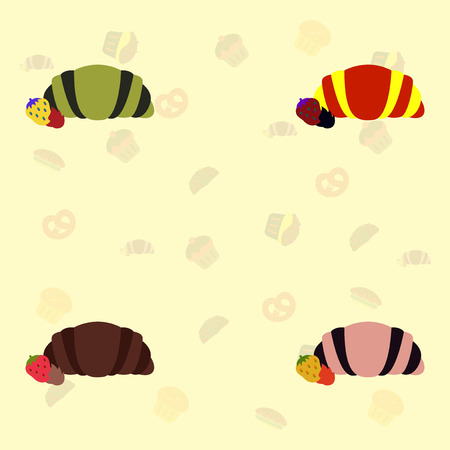 concave: strawberry chocolate croissant set vector icons Illustration