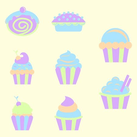 carbohydrates: sweets set, Cupcakes vector icons Illustration