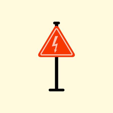 traffic pole: Danger high voltage road sign