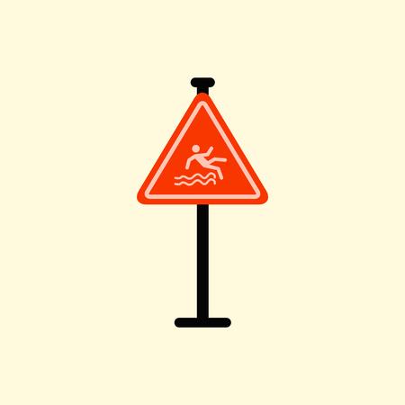 slip homme: Panneau de signalisation Attention danger de chute dans l'eau