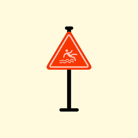 forewarn: Traffic sign Caution danger of falling into the water Illustration