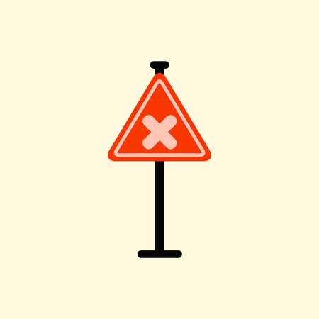 rejected: awareness sign with an x sign, road symbol