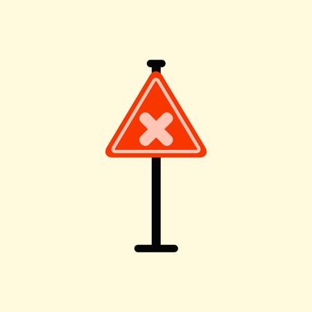 awareness sign with an x sign, road symbol